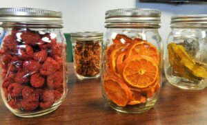 mason jars, dehydrated, fruit