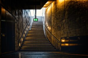 stairs, escape route, output